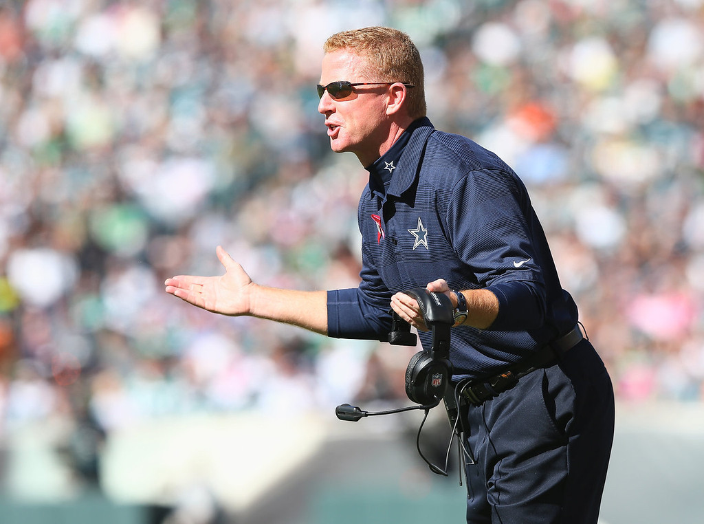 . Head coach Jason Garrett of the Dallas Cowboys argues a call against the Cowboys in the first quarter against the Philadelphia Eagles on October 20, 2013 at Lincoln Financial Field in Philadelphia, Pennslyvania.  (Photo by Elsa/Getty Images)