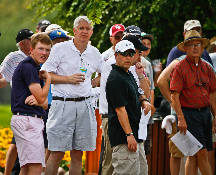 Fans watch the action during the first round Tuesday.