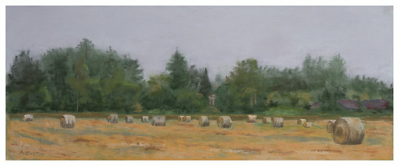 Misty Morning Haybales 6 X 14.5 (C)