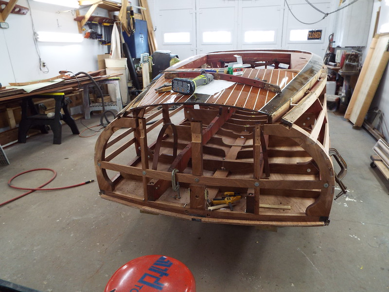 Transom deck frame removed and being rebuilt.
