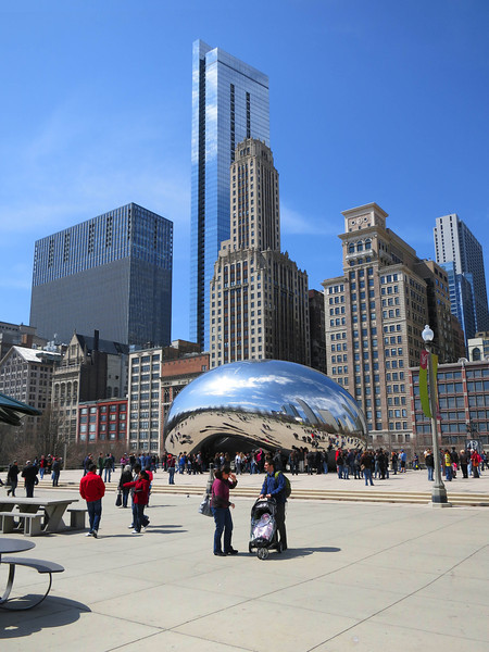 10-Cloud Gate, by Anish Kapoor (born Bombay, 1954). The narrow blue slabs are The Legacy at Millennium Park, tallest all-residential bldg in Chicago (2011, 822 ft.).