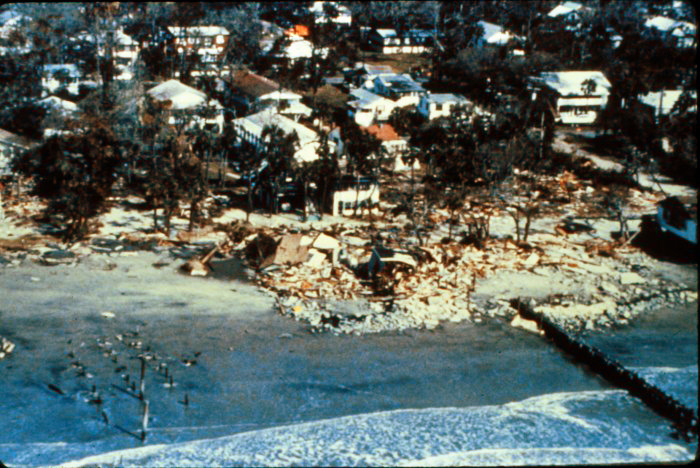 . The same homes at Folly Beach, South Carolina, after Hurricane Hugo, late September, 1989. National Hurricane Center. NOAA\'s National Weather Service (NWS) Collection
