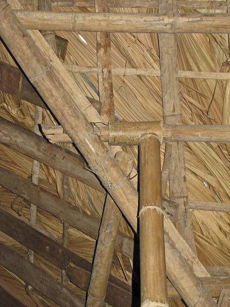 16-Duong Lam restaurant ceiling. Supports and thatch entirely bamboo.