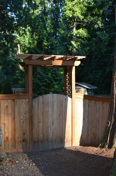 Custom arbor with shed in background.