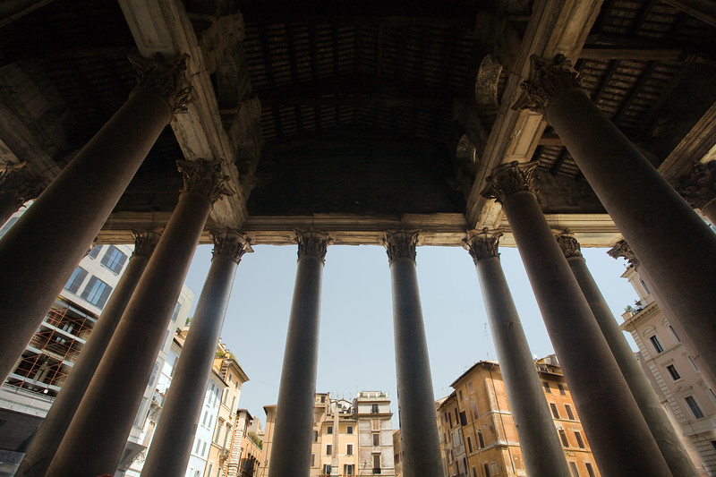 The Pantheon pronaos columns and the Rotonda square on the background, Rome