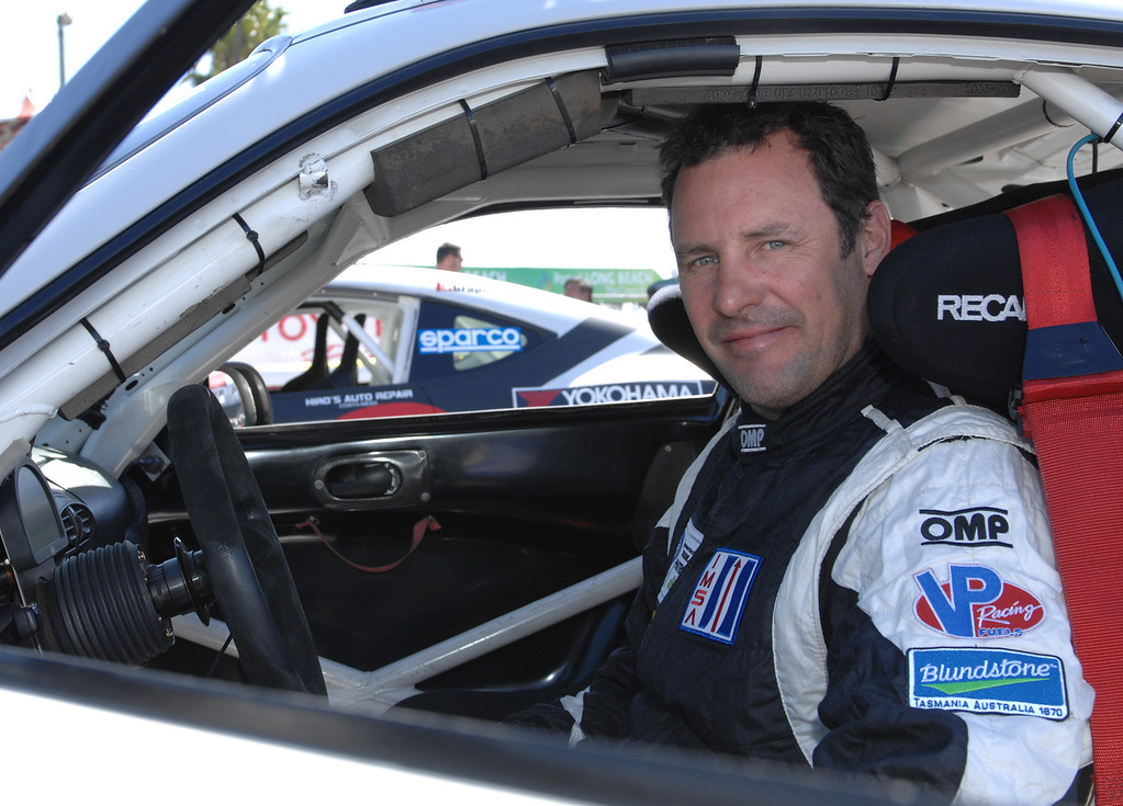 . 4/9/13 - David �CJ� Calvert-Jones, Los Angeles-based race car driver and Hollywood helicopter film pilot will be racing in the American Le Mans Series of the  39th Annual Toyota Grand Prix of Long Beach.  Photo by Brittany Murray / Staff Photographer