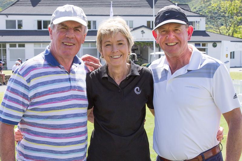 Peter Garty, Janet Mathews and John Shewan on the  final day of the Asia-Pacific Amateur Championship tournament 2017 held at Royal Wellington Golf Club, in Heretaunga, Upper Hutt, New Zealand from 26 - 29 October 2017. Copyright John Mathews 2017.   www.megasportmedia.co.nz