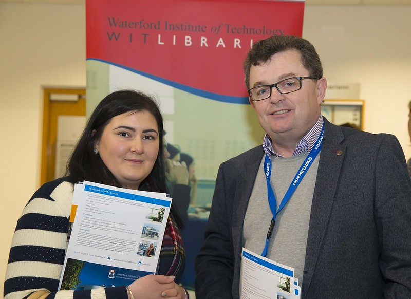 23/02/2016. Free To Use Image. Pictured at WIT (Waterford Institute Of Technology) Adult Learner Information Evening are Shannon Rae from Borris and Seamus Ryan WIT. Picture: Patrick Browne