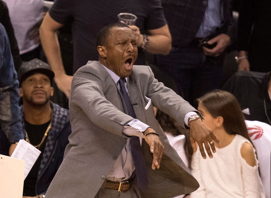 . Toronto Raptors coach Dwane Casey reacts to a call by a referee during the first half of Game 3 of an NBA basketball second-round playoff series against the Cleveland Cavaliers in Toronto on Friday, May 5, 2017. (Fred Thornhill/The Canadian Press via AP)