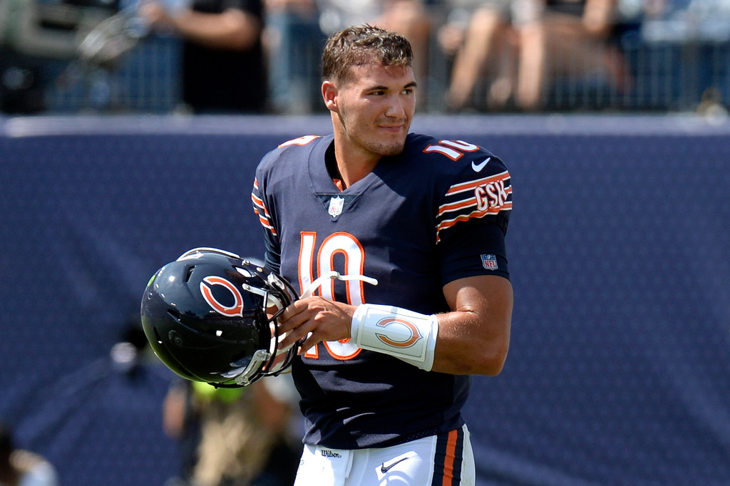 . Chicago Bears quarterback Mitchell Trubisky walks to the huddle in the second half of an NFL football preseason game against the Tennessee Titans Sunday, Aug. 27, 2017, in Nashville, Tenn. (AP Photo/Mark Zaleski)