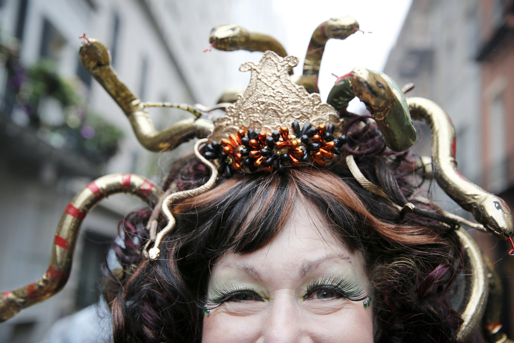 Description of . Lorraine Summers of New Orleans is dressed as Medusa on Mardi Gras Day in the French Quarter. (Fat Tuesday, the traditional celebration on the day before Ash Wednesday and the beginning of Lent, is marked in New Orleans with parades and marches through many neighborhoods in the city. (Photo by Rusty Costanza/Getty Images)