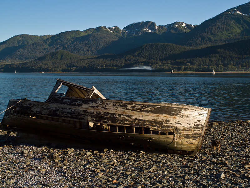 Some old boats in Southeast Alaska die from erosion, tied to the beach and left to rot. July 9, 2010.
