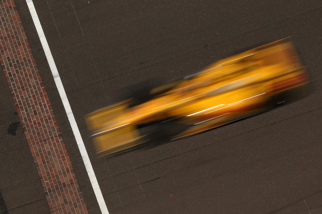 . Ryan Hunter-Reay, driver of the #28 DHL Andretti Autosport Honda Dallara, drives during the 98th running of the Indianapolis 500 Mile Race at Indianapolis Motorspeedway on May 25, 2014 in Indianapolis, Indiana.  (Photo by Chris Graythen/Getty Images)