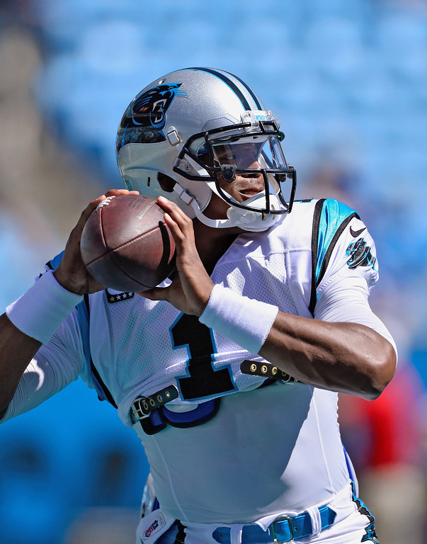 . Cam Newton #1 of the Carolina Panthers warms up before a game against the New York Giants at Bank of America Stadium on September 22, 2013 in Charlotte, North Carolina.  (Photo by Grant Halverson/Getty Images)