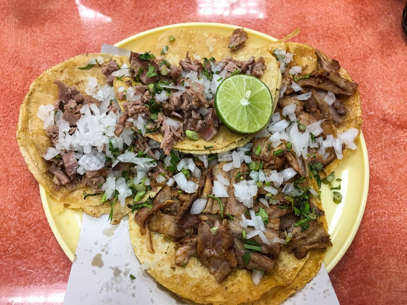 street food tacos in mexico city