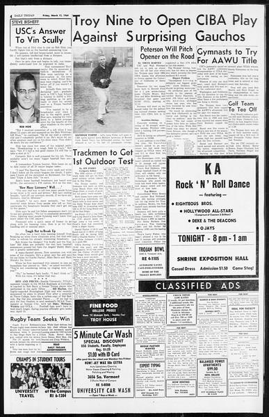 Daily Trojan, Vol. 55, No. 82, March 13, 1964