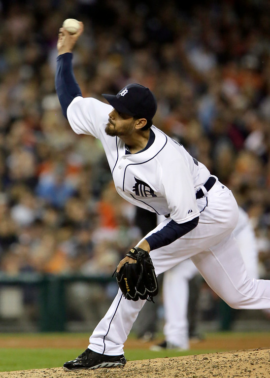 . Detroit Tigers pitcher Joakim Soria pitches a two run home run to Chicago White Sox\'s Jose Abreu during the seventh inning of a baseball game Tuesday, July 29, 2014, in Detroit. (AP Photo/Duane Burleson)