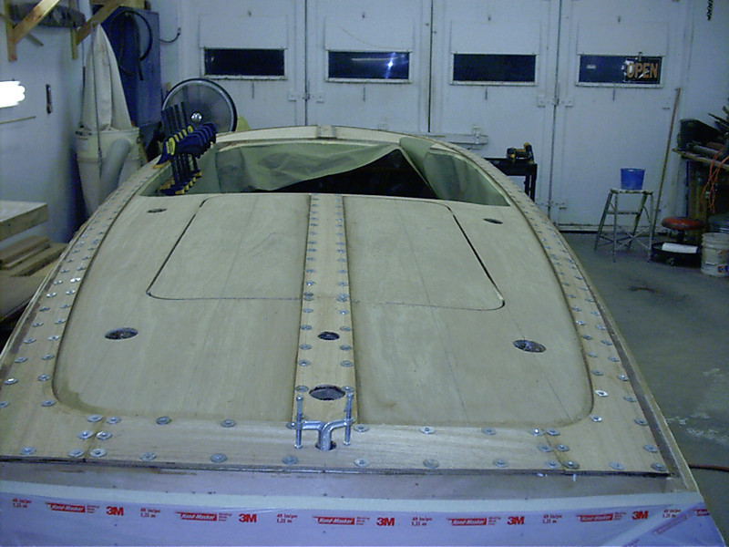 Rear view of cover board and king plank installed.