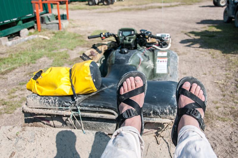 Riding the quad bikes to tour Hudson bay in Manitoba, Canada