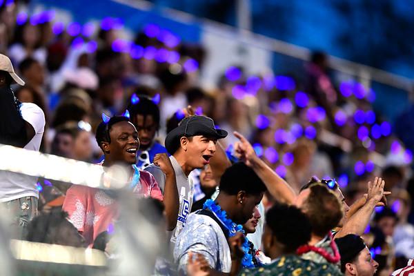 9/72019 Mike Orazzi | Staff CCSU fans against Merrimack College in New Britain on Saturday night.