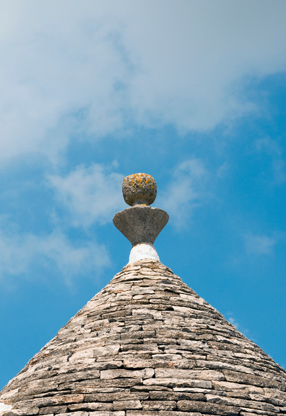 Close-up of Trullo (plural Trulli), Traditional Apulian Stone Dwelling with Conical Roof and Pinnacle, Alberobello, Bari province, Puglia region, Italy