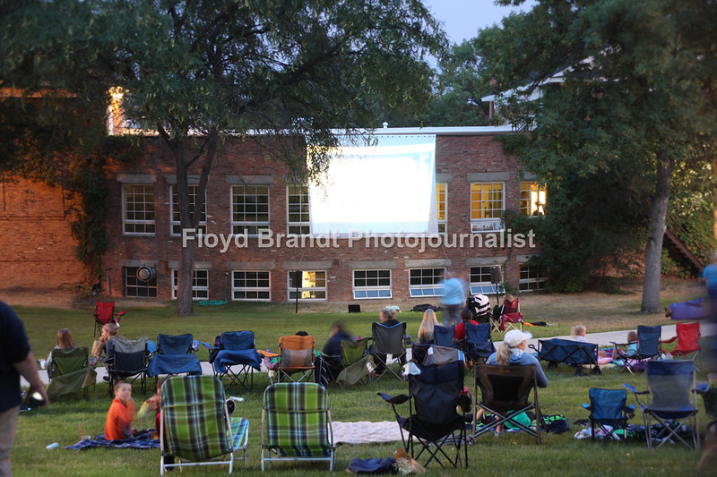 Havre Daily News/Floyd Brandt   Outdoor movie night at Montana State University Northern with free pop corn and soda Thursday