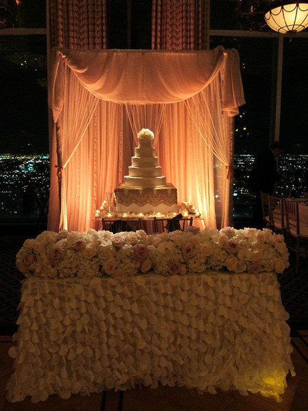 Pearl curtains.  Great for a cake backdrop with our chiffon pipe & drape system