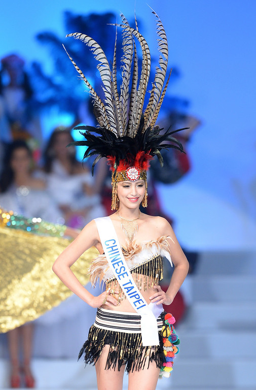 . Clad in national costume, Chen Xiao-wen of Taiwan appears on the stage during the 53rd Miss International Beauty Pageant in Tokyo on December 17, 2013. Miss Aruba was elected Miss National Costume in the beauty pageant.     TORU YAMANAKA/AFP/Getty Images