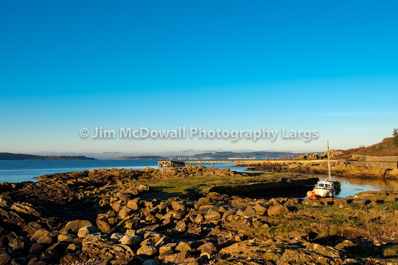Portencross Jetty and Harbour Scotland with Sunset Reflected Light