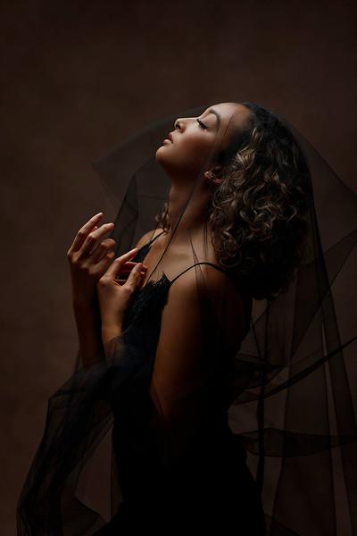 Artistic moody studio fine art portrait session | Top Sacramento, California glamour photographer Sergey Bidun Photography