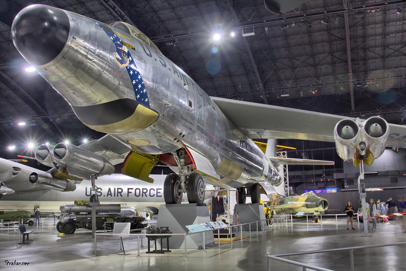 National Museum of the United States Air Force, Dayton, Ohio,   04/13/2019  Boeing RB-47H-1-BW Stratojet C/N 4501323 53-4299 in back, Mikoyan-Gurevich MiG-19S [Farmer]  c/n 0915372  0138  ex Egyptian Air Force  This work is licensed under a Creative Commons Attribution- NonCommercial 4.0 International License.