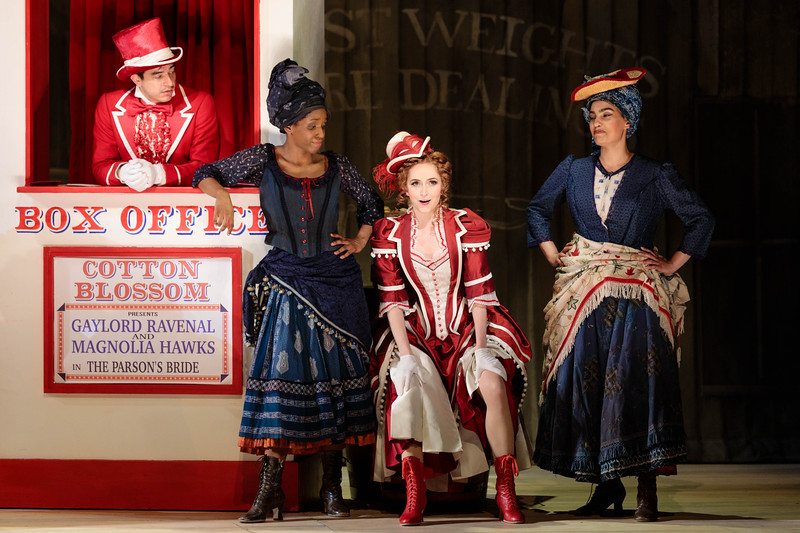 """(From left)  Schyler Vargas as Frank Schultz, Danielle Jackman, Abigail Paschke as Ellie Mae Chipley and Mia Athey in The Glimmerglass Festival's 2019 production of """"Show Boat."""" Photo Credit: Karli Cadel/The Glimmerglass Festival"""