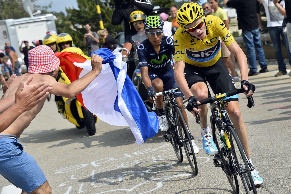 . Overall leader\'s yellow jersey Britain\'s Christopher Froome rides ahead of Colombia\'s Nairo Quintana during the 242.5 km fifteenth stage of the 100th edition of the Tour de France cycling race on July 14, 2013 between Givors and Mont Ventoux, southeastern France.     Stéphane Mantey/AFP/Getty Images