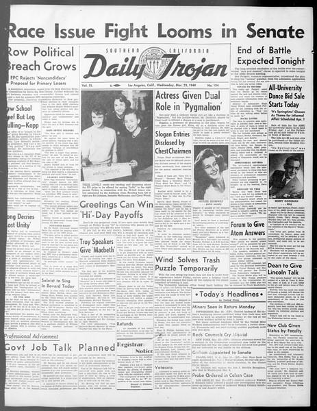 Daily Trojan, Vol. 40, No. 104, March 23, 1949
