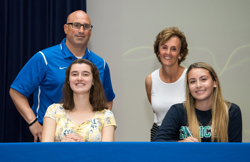 06/12/18  Wesley Bunnell   Staff  Southington High School tennis players Samantha Barmore, L, and Carolyn Callahan signed their college commitment letters on Tuesday afternoon. Athletic Director Greg Ferry, L, and Head Coach Robin Thompson.