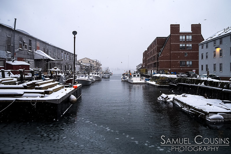 Mid-snowstorm on the wharf.
