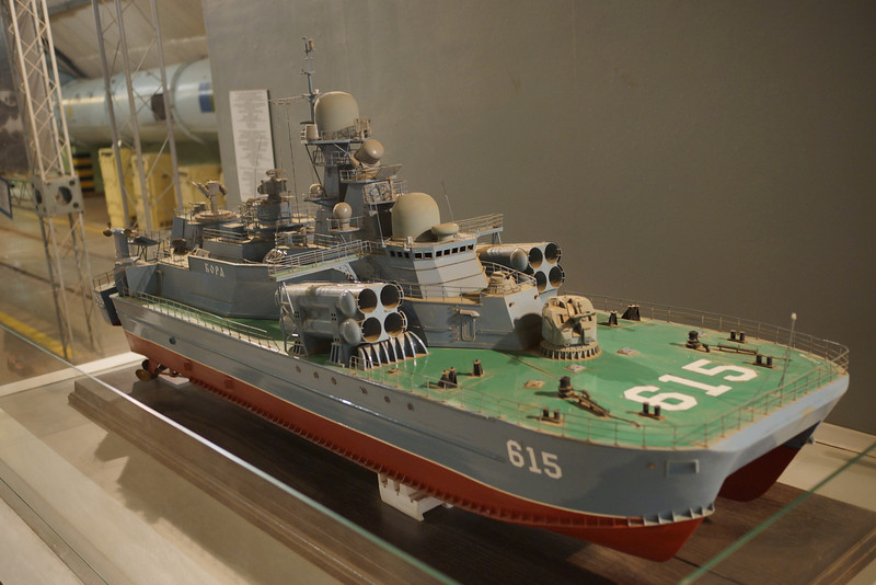 """Model of twin hull catamaran Russian missile boat displayed in underground submarine base in Sevastopol Crimea Ukraine (formerly part of USSR).  See actual boat at http://www.warships.ru/Russia/Fighting_Ships/Missile_Boats/1239-2.jpg described there as """"A Catamaran missile difficult to find is the """"615"""" Bora in the naval area of Kurinaya (Sevastopol)."""" _DSC4386"""