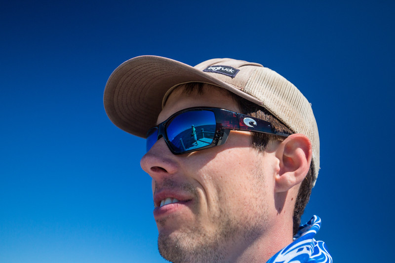 Wilson Kerr reflected in Ben Moody's glasses. Chasing Martha's Vineyard False Albacore During the MV Derby