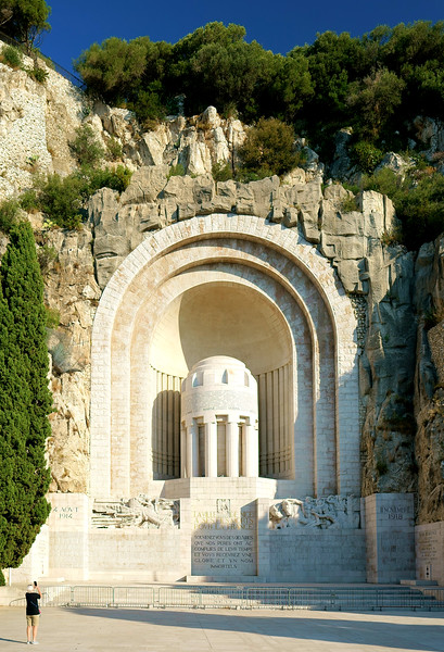 The Nice War Memorial is built into the rock face.