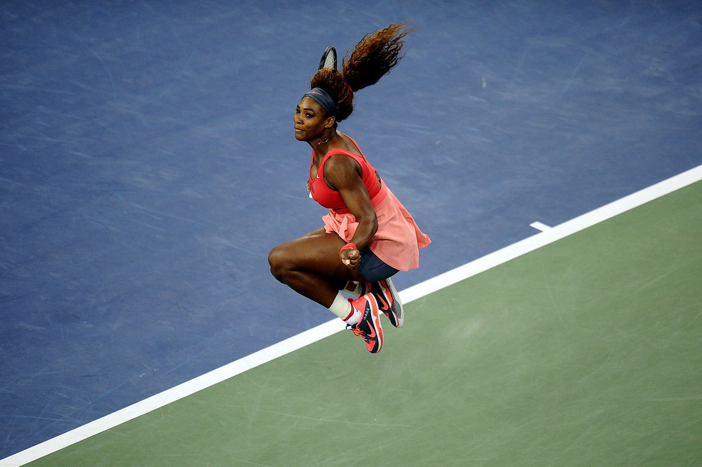 . Serena Williams of the United States of America celebrates winning her women\'s singles final match against Victoria Azarenka of Belarus on Day Fourteen of the 2013 US Open at the USTA Billie Jean King National Tennis Center on September 8, 2013 in the Flushing neighborhood of the Queens borough of New York City.  (Photo by Maddie Meyer/Getty Images)