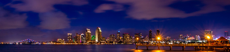 San Diego Skyline at Night - Feb 16, 2019