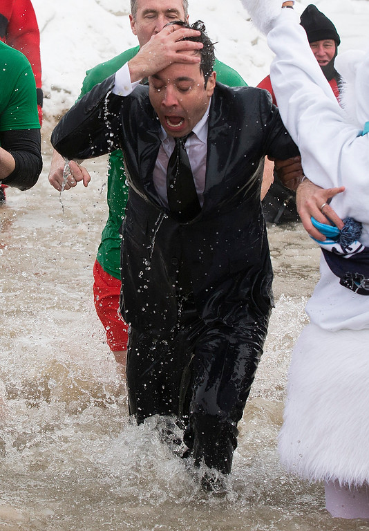 """. \""""The Tonight Show\"""" host Jimmy Fallon exits the water during the Chicago Polar Plunge, Sunday, March 2, 2014, in Chicago. Fallon joined Chicago Mayor Rahm Emanuel in the event. (AP Photo/Andrew A. Nelles)"""
