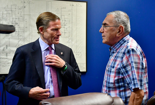 7/26/2019 Mike Orazzi | Staff U.S. Sen. Richard Blumenthal talks with Pepco President Bob Sposato on Lake Avenue in Bristol during a factory tour on Friday.
