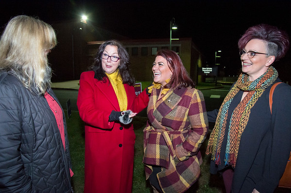 11/05/19 Wesley Bunnell | StaffrrMayor Erin Stewart makes her last stop of the day at Slade Middle School to speak to supporters on Tuesday evening. Maryann Sobolewski, L, Sharon Beloin-Saavedra, Mayor Stewart and Shelly Fournier.