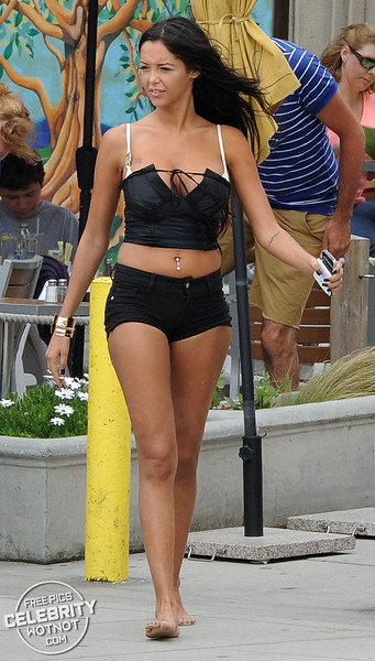EXCLUSIVE: Nabilla Benattia Shows Off Chest Tattoo In White Bikini Top, Venice Beach