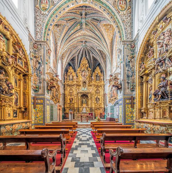 Church of Santa Paula Convent, Seville, Spain. High resolution square panorama.