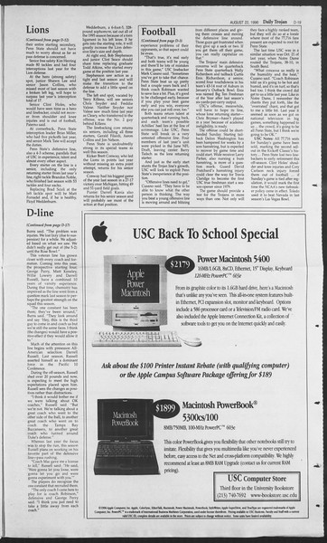 Daily Trojan, Vol. 129, No. 1, August 22, 1996
