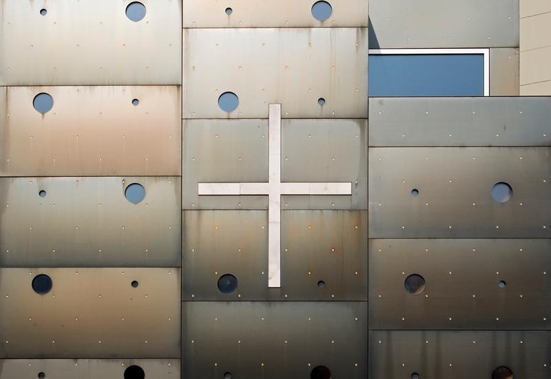 Detail of Facade of Donau City Church (Donaucitykirche) aka 'Christus, Hoffnung der Welt' ('Christ, Hope of the World'), Roman Catholic Church designed by Architect Heinz Tesar, Vienna Donaucity (Donaustadt), Austria
