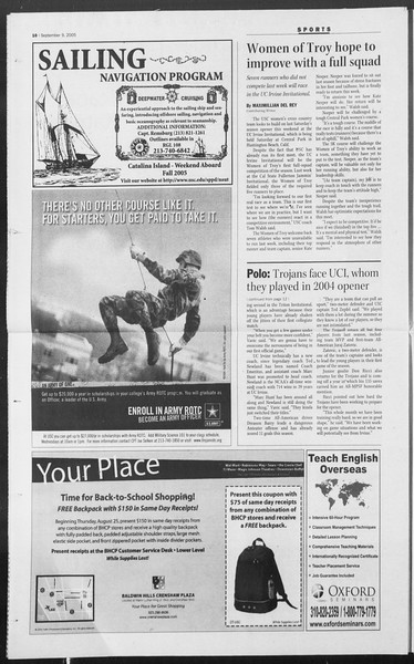 Daily Trojan, Vol. 156, No. 13, September 09, 2005