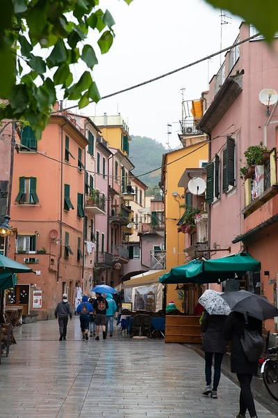 colorful homes on a rainy street in Monterosso, Italy
